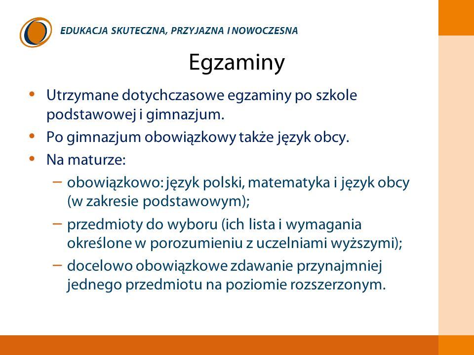 Egzaminy Utrzymane dotychczasowe egzaminy po szkole podstawowej i gimnazjum. Po gimnazjum obowiązkowy także język obcy.