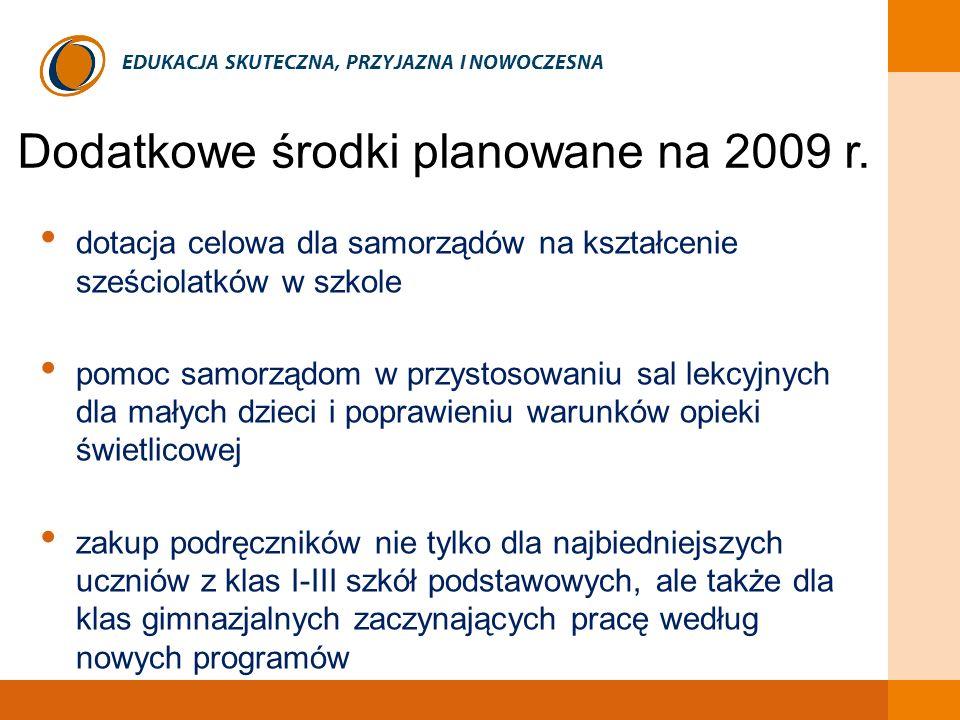 Dodatkowe środki planowane na 2009 r. e
