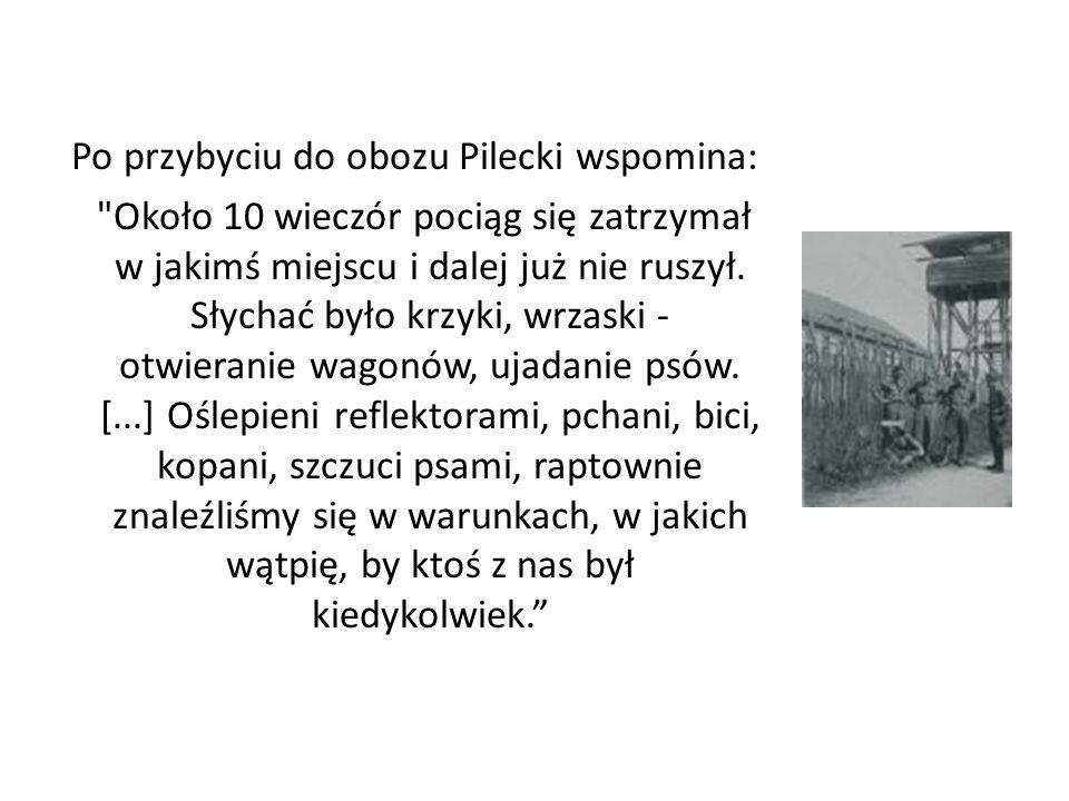 Po przybyciu do obozu Pilecki wspomina: Około 10 wieczór pociąg się zatrzymał w jakimś miejscu i dalej już nie ruszył.