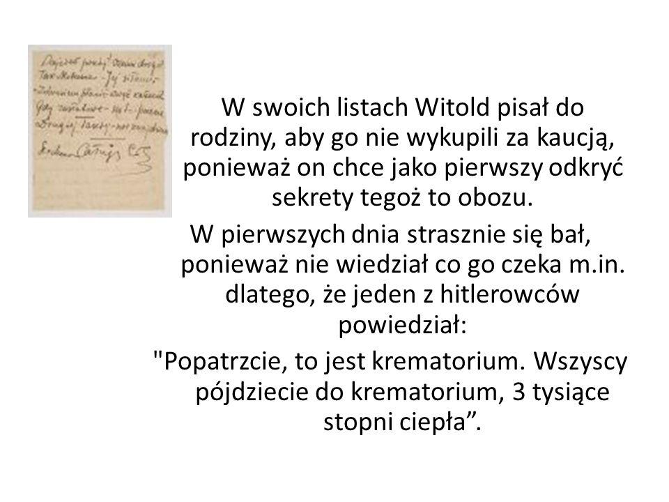 W swoich listach Witold pisał do rodziny, aby go nie wykupili za kaucją, ponieważ on chce jako pierwszy odkryć sekrety tegoż to obozu.