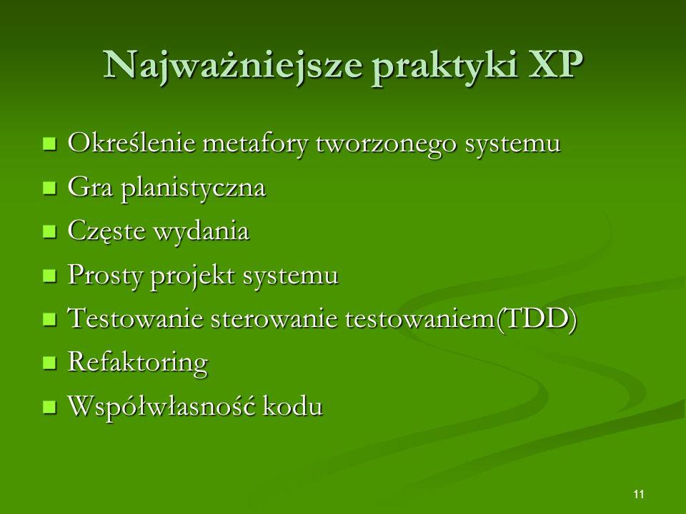 Najważniejsze praktyki XP
