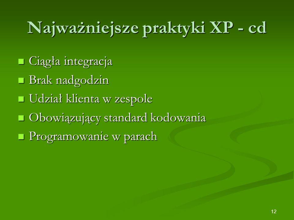 Najważniejsze praktyki XP - cd