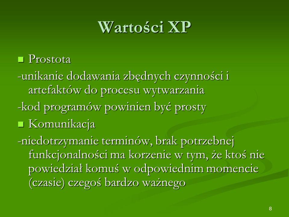 Wartości XP Prostota. -unikanie dodawania zbędnych czynności i artefaktów do procesu wytwarzania. -kod programów powinien być prosty.