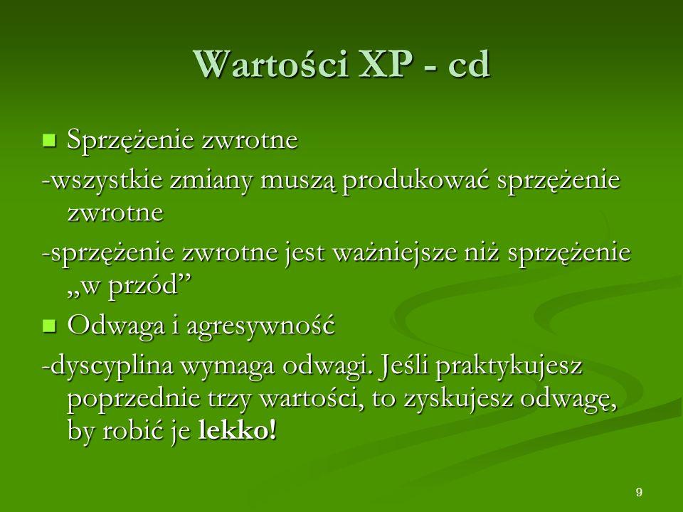 Wartości XP - cd Sprzężenie zwrotne