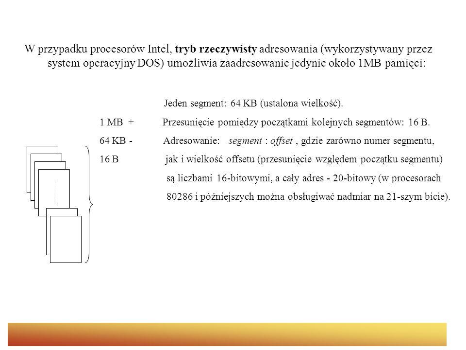W przypadku procesorów Intel, tryb rzeczywisty adresowania (wykorzystywany przez system operacyjny DOS) umożliwia zaadresowanie jedynie około 1MB pamięci:
