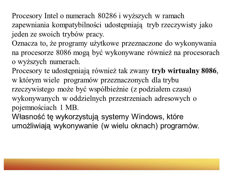 Procesory Intel o numerach 80286 i wyższych w ramach zapewniania kompatybilności udostępniają tryb rzeczywisty jako jeden ze swoich trybów pracy. Oznacza to, że programy użytkowe przeznaczone do wykonywania na procesorze 8086 mogą być wykonywane również na procesorach o wyższych numerach. Procesory te udostępniają również tak zwany tryb wirtualny 8086, w którym wiele programów przeznaczonych dla trybu rzeczywistego może być współbieżnie (z podziałem czasu) wykonywanych w oddzielnych przestrzeniach adresowych o pojemnościach 1 MB. Własność tę wykorzystują systemy Windows, które umożliwiają wykonywanie (w wielu oknach) programów.