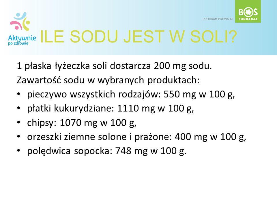 ILE SODU JEST W SOLI 1 płaska łyżeczka soli dostarcza 200 mg sodu.