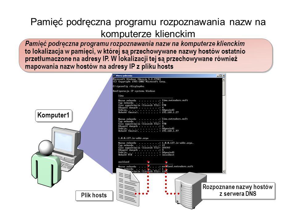 Pamięć podręczna programu rozpoznawania nazw na komputerze klienckim