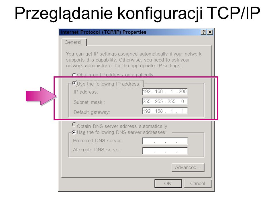 Przeglądanie konfiguracji TCP/IP
