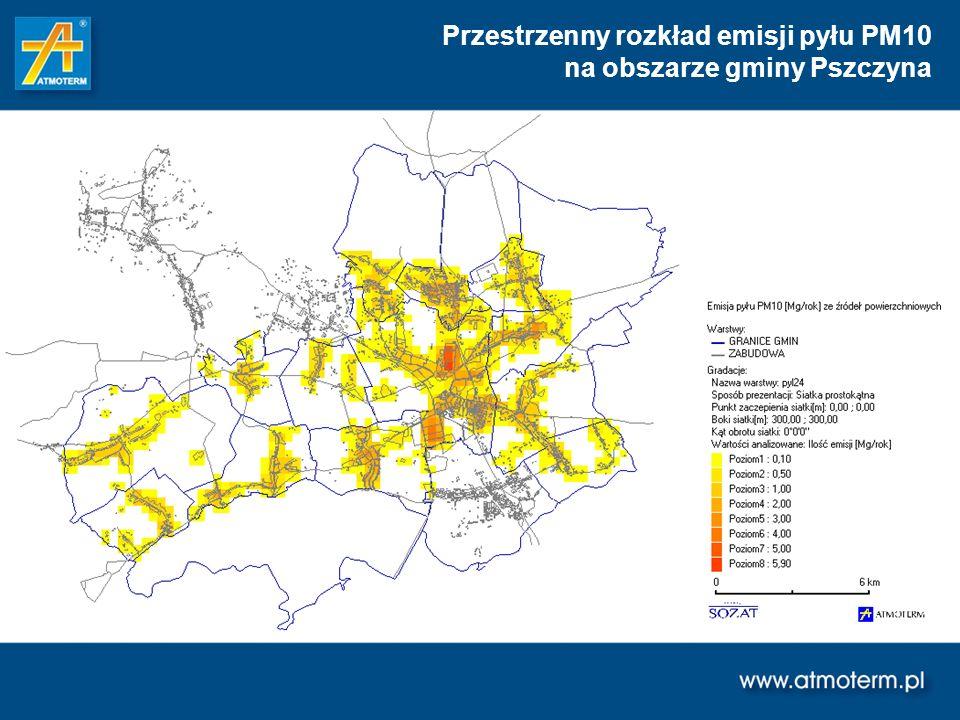 Przestrzenny rozkład emisji pyłu PM10