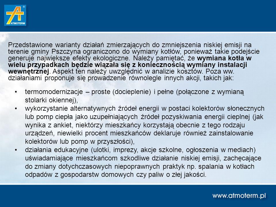 Przedstawione warianty działań zmierzających do zmniejszenia niskiej emisji na terenie gminy Pszczyna ograniczono do wymiany kotłów, ponieważ takie podejście generuje największe efekty ekologiczne. Należy pamiętać, że wymiana kotła w wielu przypadkach będzie wiązała się z koniecznością wymiany instalacji wewnętrznej. Aspekt ten należy uwzględnić w analizie kosztów. Poza ww. działaniami proponuje się prowadzenie równolegle innych akcji, takich jak: