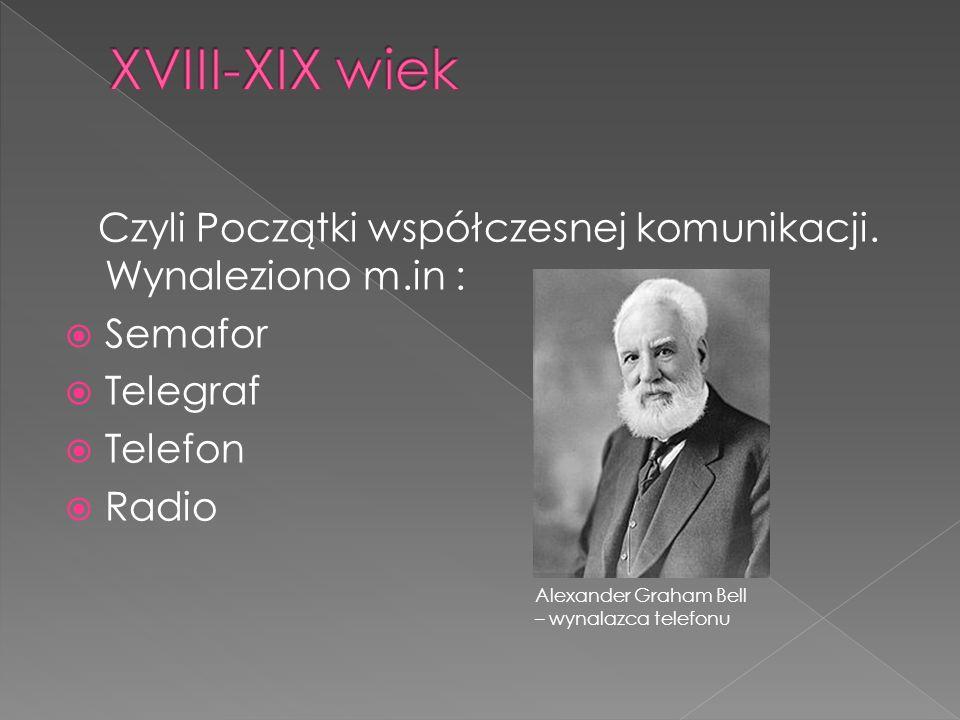 XVIII-XIX wiek Czyli Początki współczesnej komunikacji. Wynaleziono m.in : Semafor. Telegraf. Telefon.
