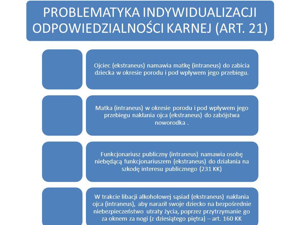 PROBLEMATYKA INDYWIDUALIZACJI ODPOWIEDZIALNOŚCI KARNEJ (ART. 21)