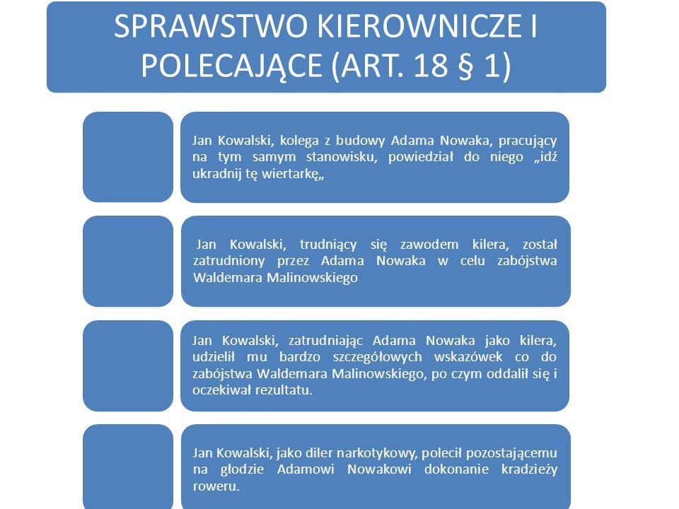 SPRAWSTWO KIEROWNICZE I POLECAJĄCE (ART. 18 § 1)