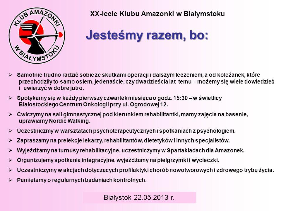 Jesteśmy razem, bo: XX-lecie Klubu Amazonki w Białymstoku