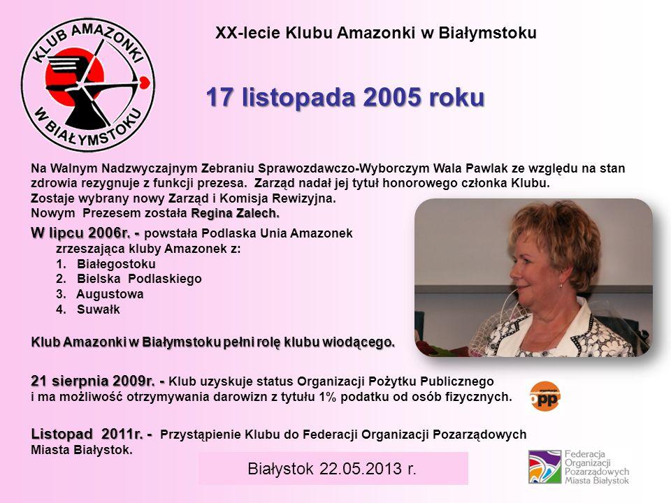 17 listopada 2005 roku XX-lecie Klubu Amazonki w Białymstoku