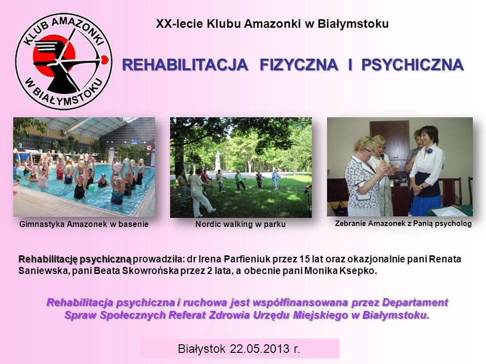 Gimnastyka Amazonek w basenie Zebranie Amazonek z Panią psycholog