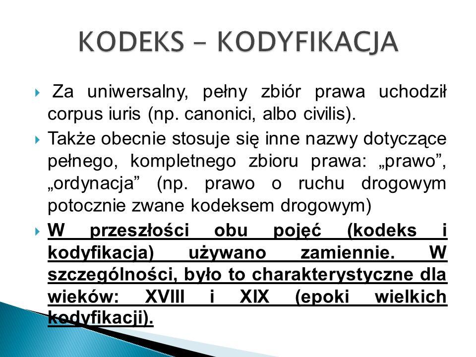 KODEKS - KODYFIKACJA Za uniwersalny, pełny zbiór prawa uchodził corpus iuris (np. canonici, albo civilis).