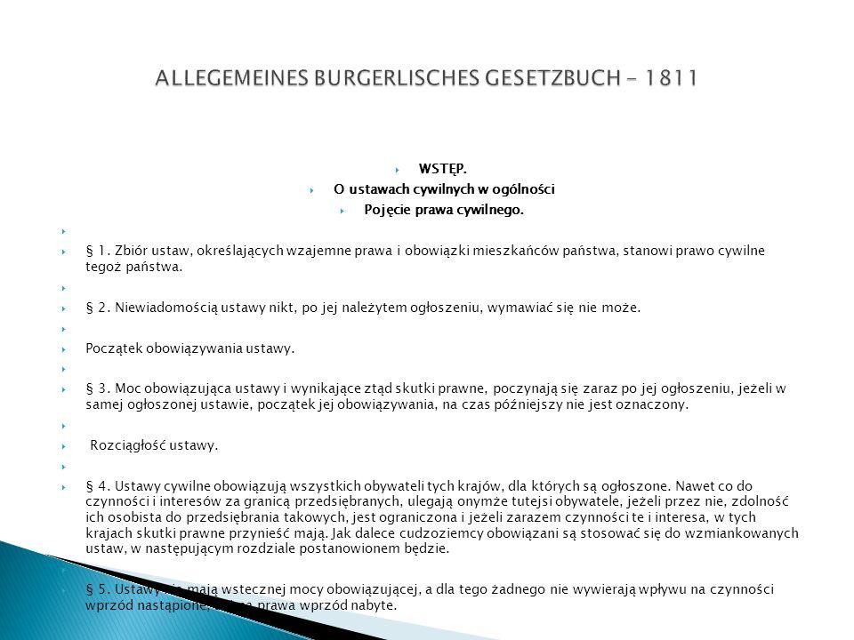 ALLEGEMEINES BURGERLISCHES GESETZBUCH - 1811
