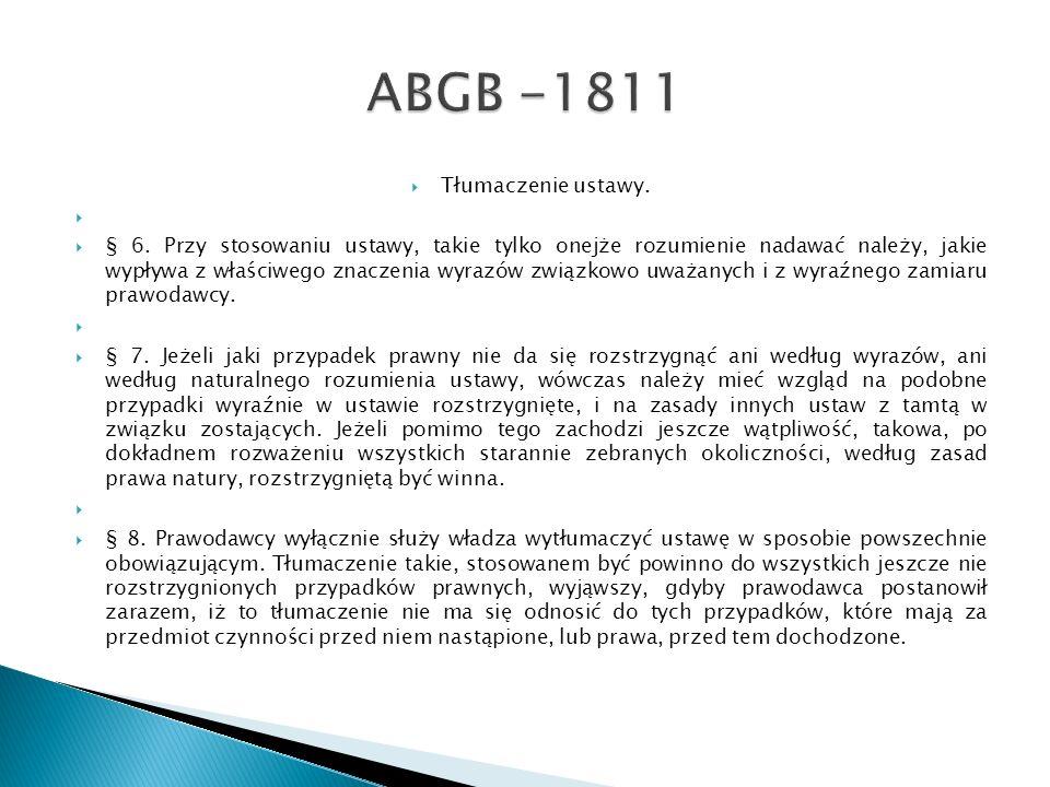 ABGB -1811 Tłumaczenie ustawy.