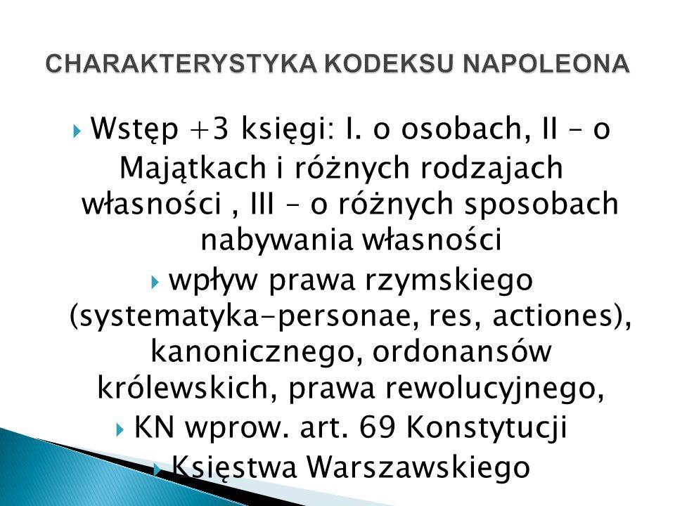 CHARAKTERYSTYKA KODEKSU NAPOLEONA