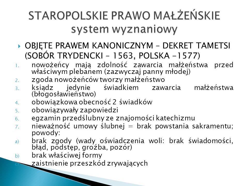 STAROPOLSKIE PRAWO MAŁŻEŃSKIE system wyznaniowy