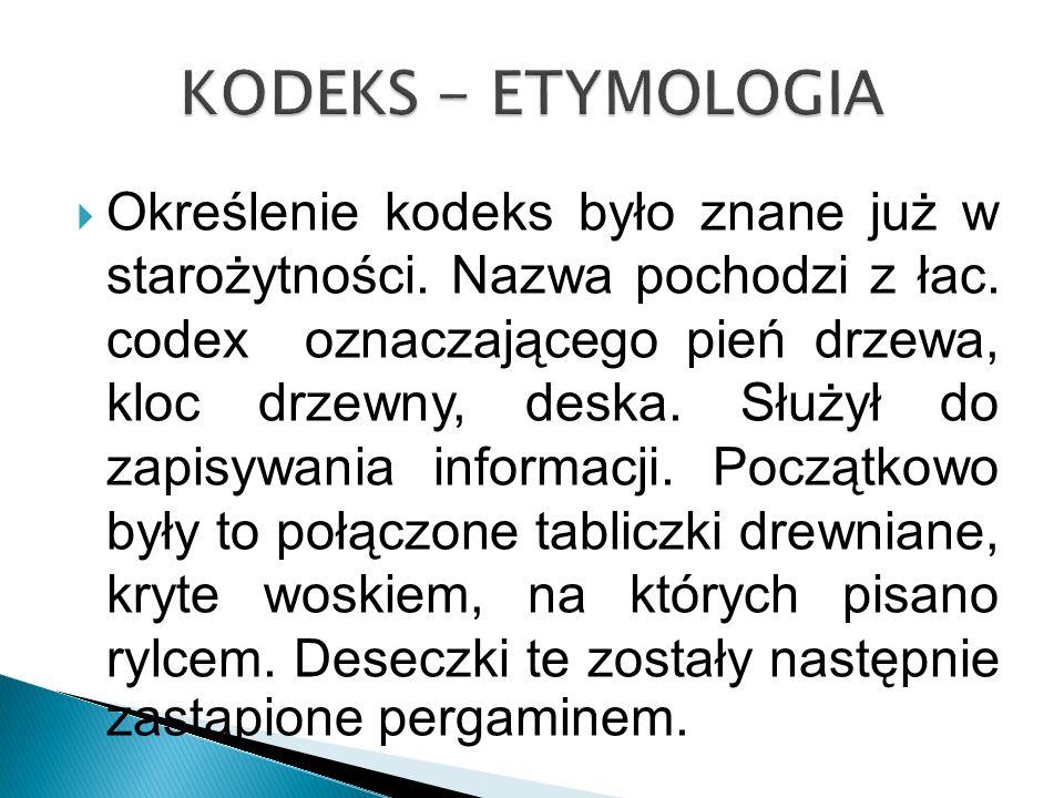 KODEKS - ETYMOLOGIA