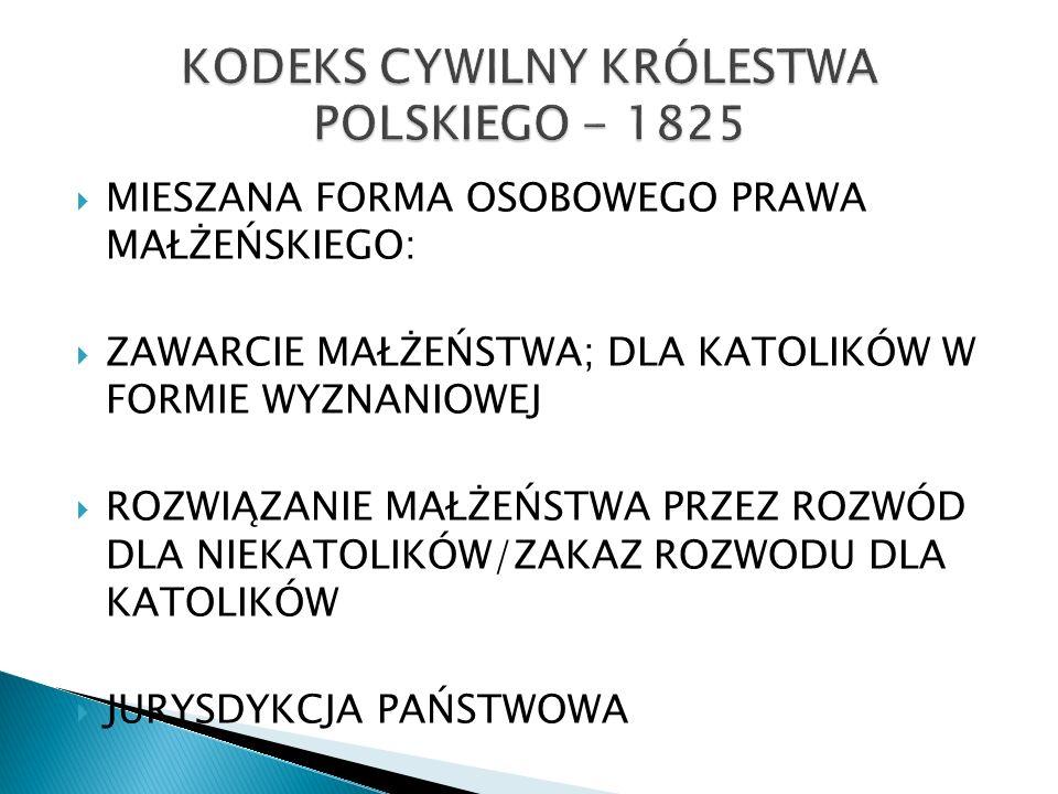 KODEKS CYWILNY KRÓLESTWA POLSKIEGO - 1825