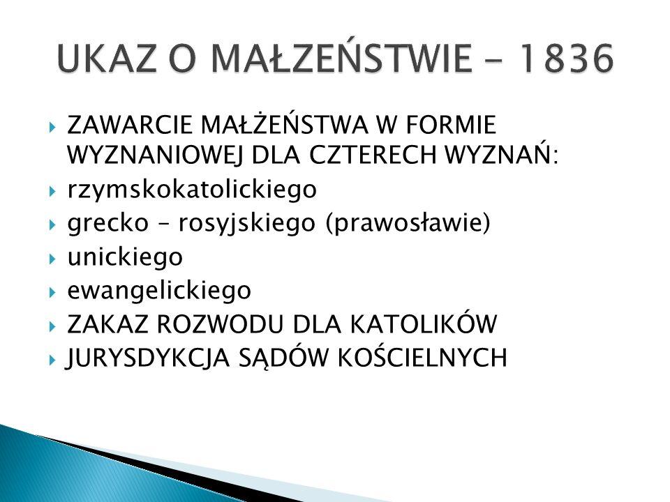 UKAZ O MAŁZEŃSTWIE - 1836 ZAWARCIE MAŁŻEŃSTWA W FORMIE WYZNANIOWEJ DLA CZTERECH WYZNAŃ: rzymskokatolickiego.