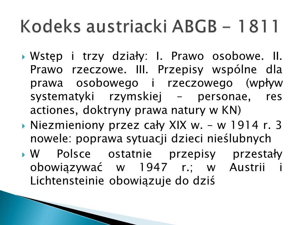 Kodeks austriacki ABGB - 1811