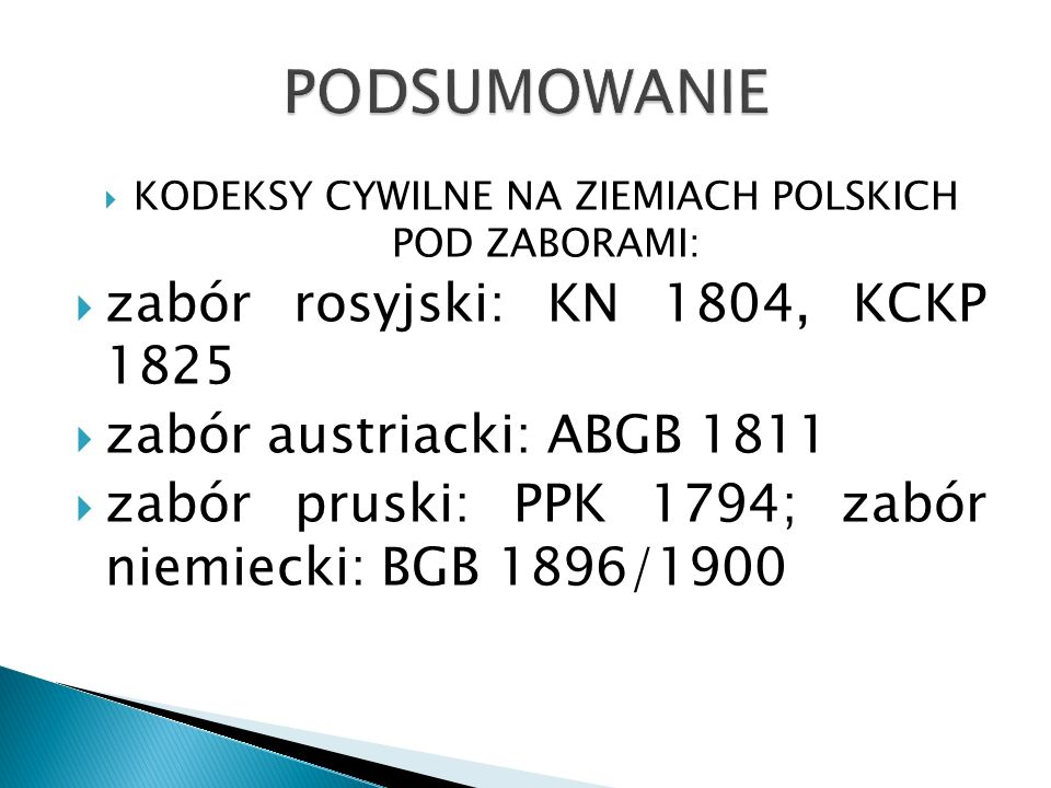 KODEKSY CYWILNE NA ZIEMIACH POLSKICH POD ZABORAMI: