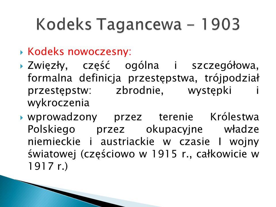 Kodeks Tagancewa - 1903 Kodeks nowoczesny: