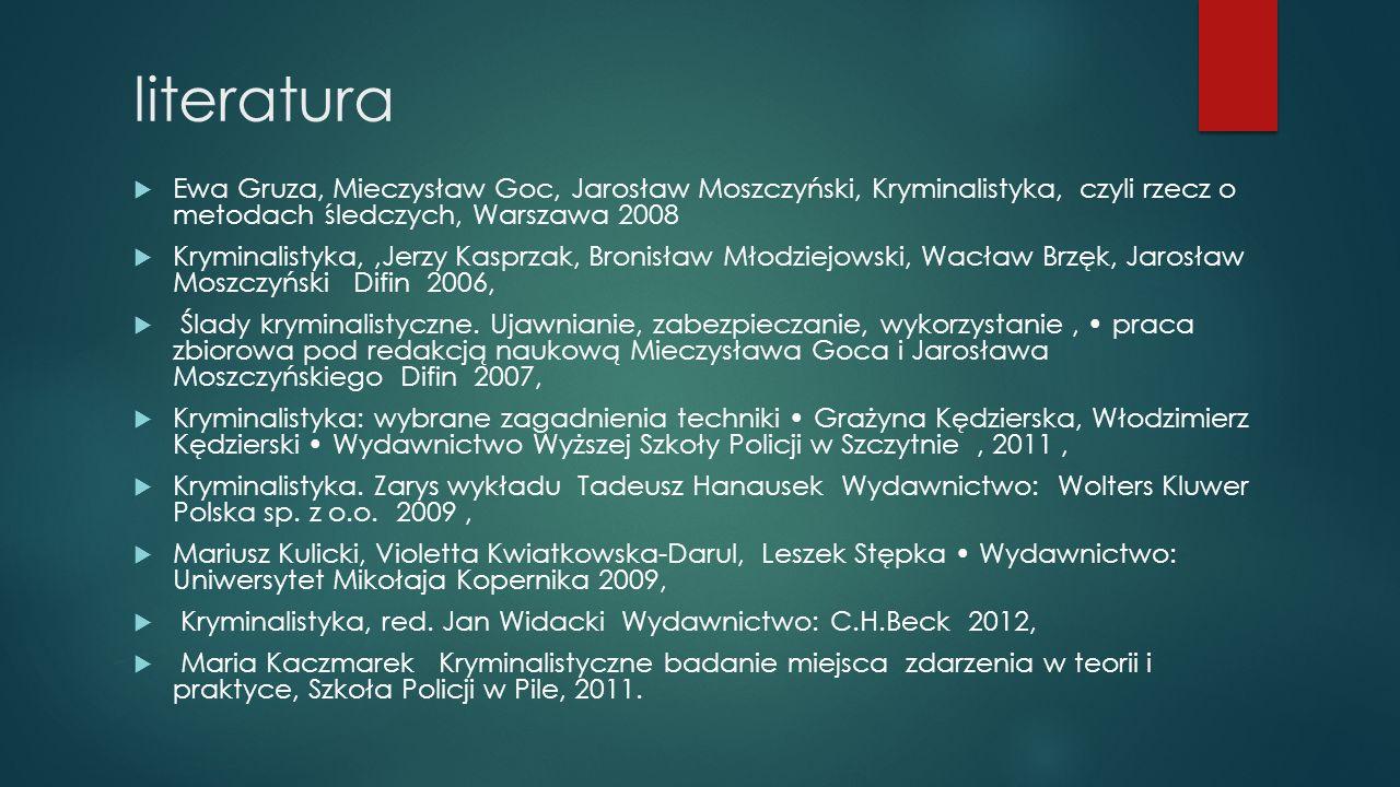 literatura Ewa Gruza, Mieczysław Goc, Jarosław Moszczyński, Kryminalistyka, czyli rzecz o metodach śledczych, Warszawa 2008.