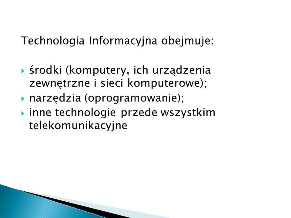 Technologia Informacyjna obejmuje: