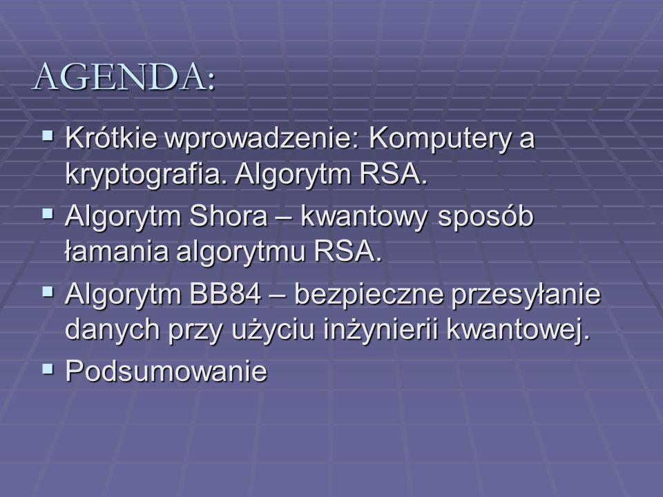 AGENDA: Krótkie wprowadzenie: Komputery a kryptografia. Algorytm RSA.