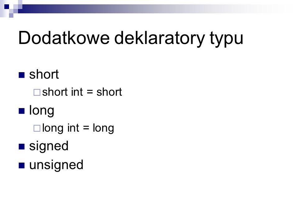 Dodatkowe deklaratory typu
