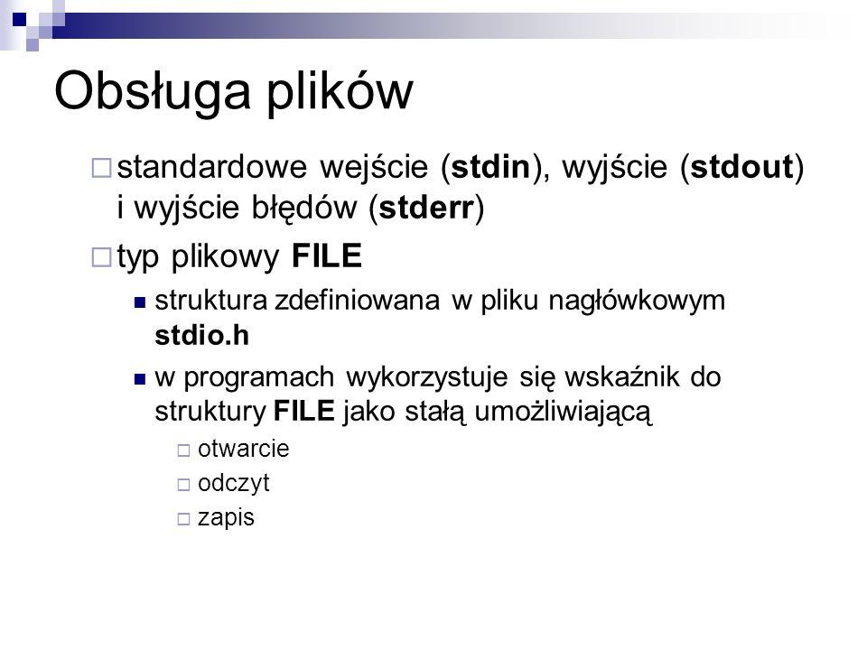 Obsługa plikówstandardowe wejście (stdin), wyjście (stdout) i wyjście błędów (stderr) typ plikowy FILE.