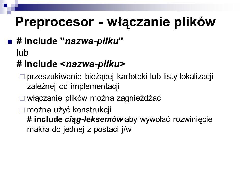 Preprocesor - włączanie plików