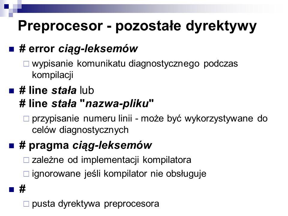 Preprocesor - pozostałe dyrektywy