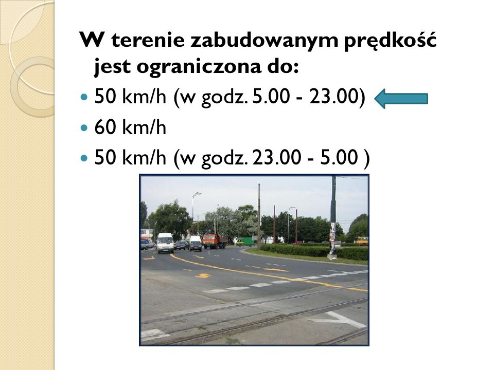 W terenie zabudowanym prędkość jest ograniczona do: