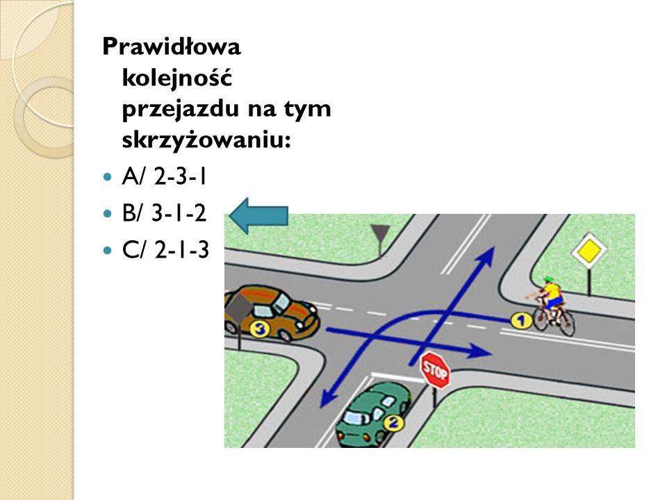 Prawidłowa kolejność przejazdu na tym skrzyżowaniu: