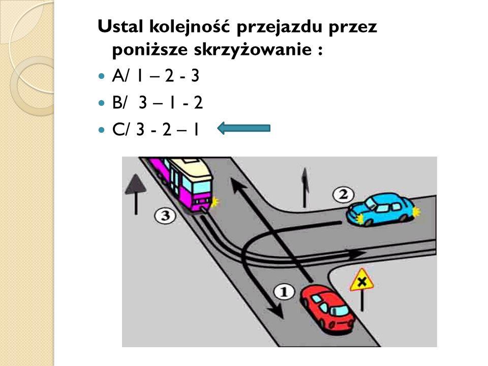 Ustal kolejność przejazdu przez poniższe skrzyżowanie :