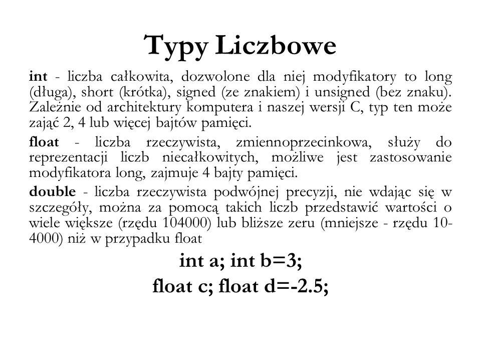 Typy Liczbowe int a; int b=3; float c; float d=-2.5;