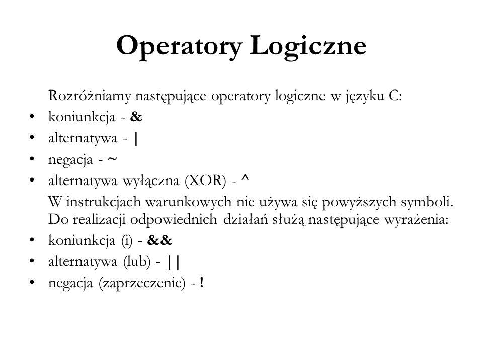 Operatory Logiczne Rozróżniamy następujące operatory logiczne w języku C: koniunkcja - & alternatywa - |