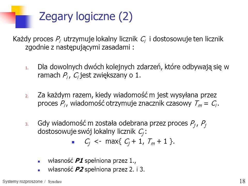 Zegary logiczne (2) Każdy proces Pi utrzymuje lokalny licznik Ci i dostosowuje ten licznik zgodnie z następującymi zasadami :