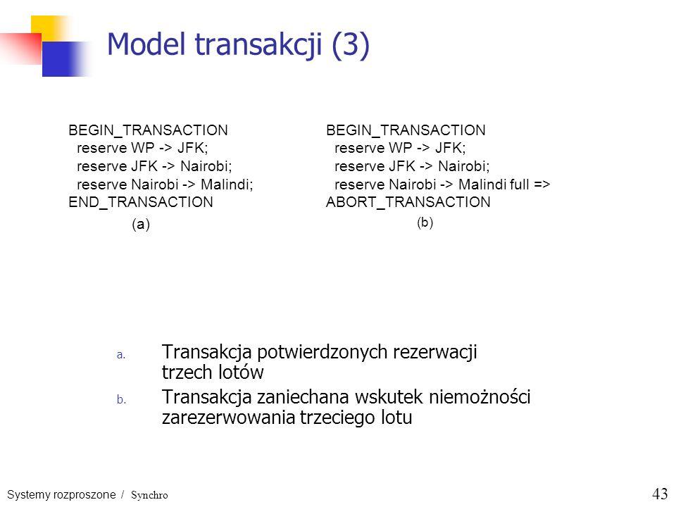 Model transakcji (3) Transakcja potwierdzonych rezerwacji trzech lotów