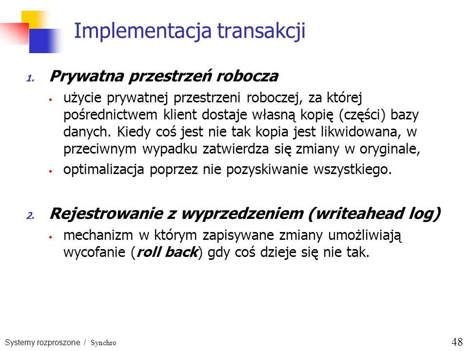 Implementacja transakcji