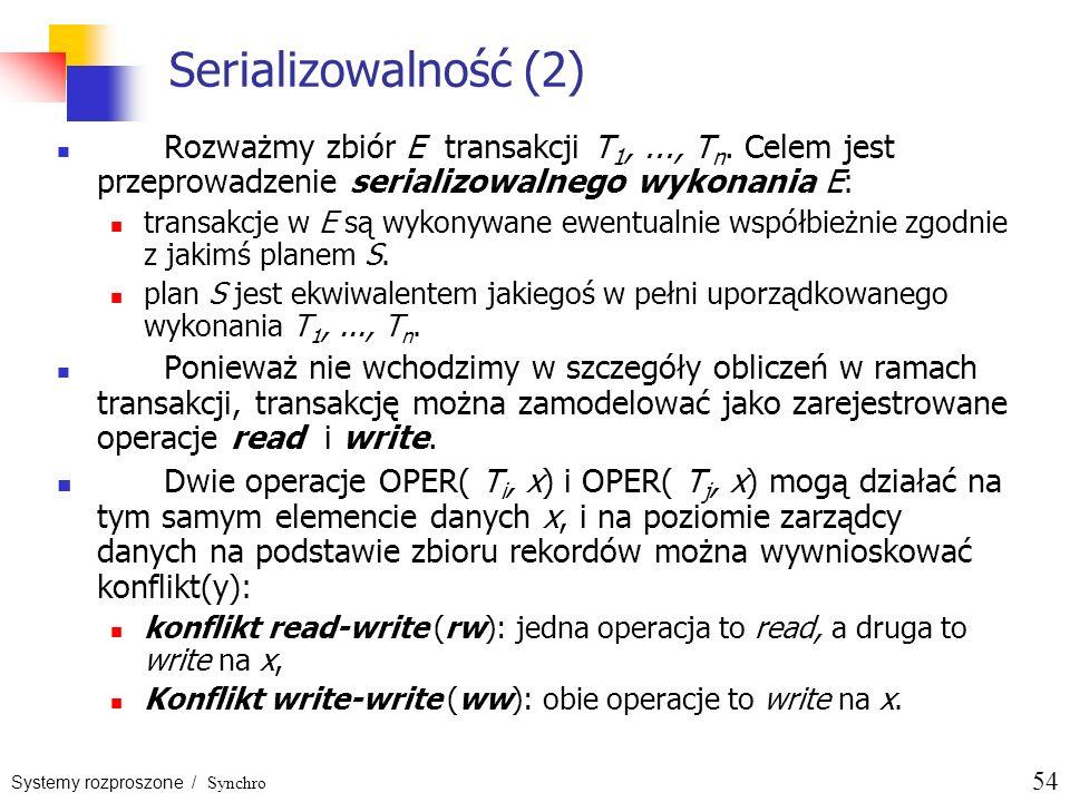 Serializowalność (2)Rozważmy zbiór E transakcji T1, ..., Tn. Celem jest przeprowadzenie serializowalnego wykonania E: