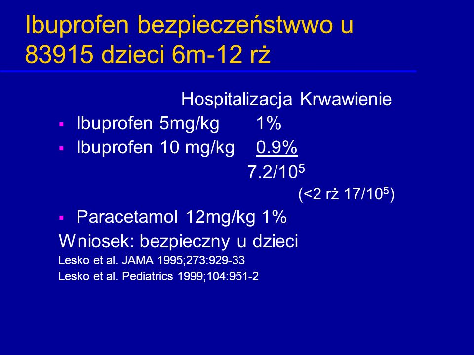 Ibuprofen bezpieczeństwwo u 83915 dzieci 6m-12 rż