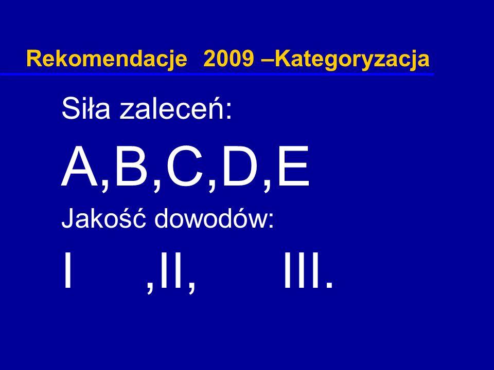 Rekomendacje 2009 –Kategoryzacja